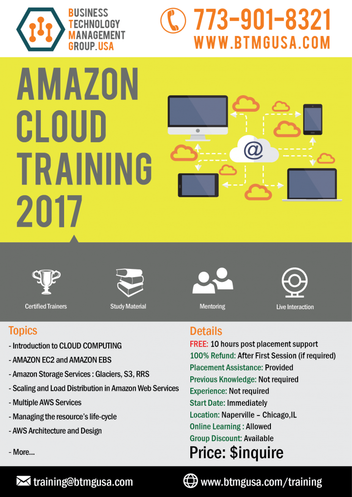 Amazon Web Services Training offered by BTMG USA with Job placement